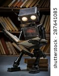 Robot Child Reading A Book In...