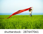 young lady runing with tissue... | Shutterstock . vector #287647061