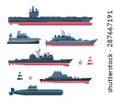 militaristic ships icons set.... | Shutterstock .eps vector #287667191
