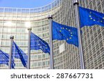 flags in front of the eu... | Shutterstock . vector #287667731