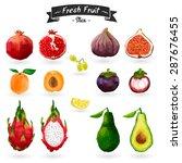 set of fruits in watercolor... | Shutterstock . vector #287676455