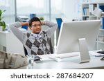 pensive indian programmer with... | Shutterstock . vector #287684207