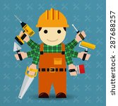 builder with many arms.... | Shutterstock .eps vector #287688257