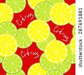 seamless citrus pattern. fruit... | Shutterstock .eps vector #287691881