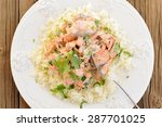 salmon with rice  scallion and...