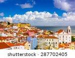 lisbon  portugal cityscape in... | Shutterstock . vector #287702405
