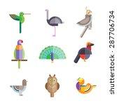 Flat Birds Made From Geometric...