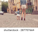 young mother strolling with... | Shutterstock . vector #287707664