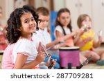 preschool students playing... | Shutterstock . vector #287709281