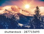 Stock photo colorado mountains vista in abstract color grading rocky mountain 287715695