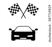 car and finishing flag | Shutterstock .eps vector #287719829