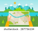 man on a hiking trip holding a... | Shutterstock .eps vector #287736134