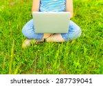 girl holding gadget in park. | Shutterstock . vector #287739041