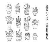 Cute Hand Drawn Vector Cactuse...