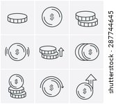 line icons style coins icons... | Shutterstock .eps vector #287744645