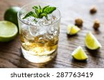 glass of rum on the wooden... | Shutterstock . vector #287763419