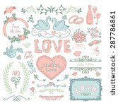 set of wedding ornaments and... | Shutterstock .eps vector #287786861