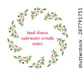 unique vector watercolor wreath.... | Shutterstock .eps vector #287791751