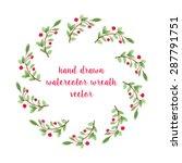 unique vector watercolor wreath.... | Shutterstock .eps vector #287791751