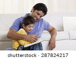 happy father helping his son in ... | Shutterstock . vector #287824217