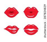 set of four vector lips  kiss... | Shutterstock .eps vector #287824829