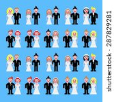 married couples standing pixel... | Shutterstock .eps vector #287829281