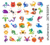 big vector set of cartoon cute... | Shutterstock .eps vector #287830091