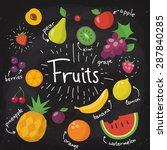 chalkboard food poster. fruits... | Shutterstock .eps vector #287840285