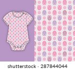 Stock vector owl themed seamless pattern for fashion baby overall pijamas t shirt baby girl 287844044