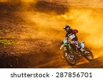 Motocross Pilot In A Turn...