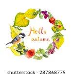 Bright Autumn Wreath With Cute...