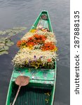 boat with flowers on dal lake...