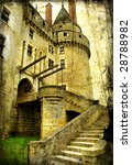medieval castle- picture in retro style - stock photo