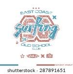 surfing emblem in retro style.... | Shutterstock .eps vector #287891651