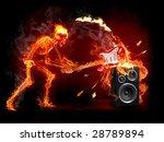 Crush Guitar. Fiery Skeleton...