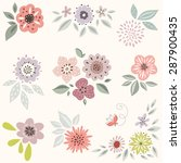 vector decorative floral set. | Shutterstock .eps vector #287900435