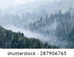 rain over forest mountains. | Shutterstock . vector #287906765