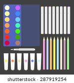 pens markers  watercolor paints ... | Shutterstock .eps vector #287919254