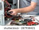 a technician repairing a... | Shutterstock . vector #287938421