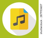 music file flat icon with long...