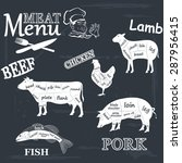 meat menu. set of meat symbols ... | Shutterstock .eps vector #287956415