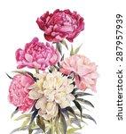 bouquet of peonies watercolor....   Shutterstock .eps vector #287957939