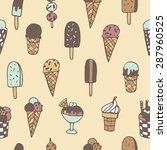 hand drawn ice cream seamless... | Shutterstock .eps vector #287960525