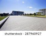 long empty footpath in modern... | Shutterstock . vector #287960927