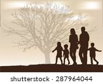 family silhouettes. | Shutterstock .eps vector #287964044