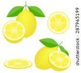 vector   lemons  four views.... | Shutterstock .eps vector #287965199