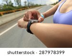 young woman jogger ready to run ... | Shutterstock . vector #287978399