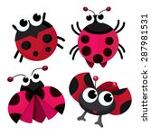 Four Cute Cartoon Ladybirds Or...