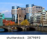 department of the interior in Berlin, Germany and the river Spree - stock photo