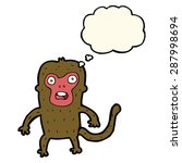 cartoon monkey with thought... | Shutterstock .eps vector #287998694